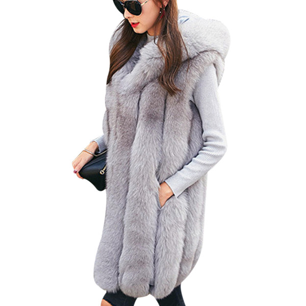 New Design Warm Faux Fur Vest Coat Women Vest Winter Thick Hooded Pink Long Outerwear Elegant Ladies Jackets Plus Size S-3XL