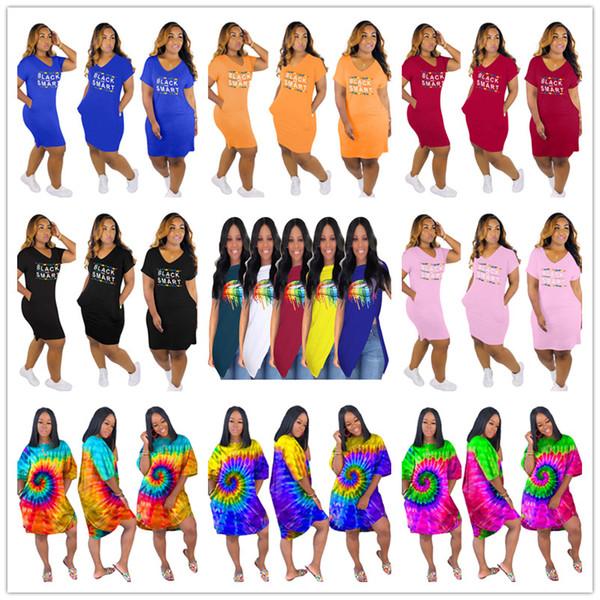 S-3XL Rainbow Lips Print Women Designer Dress Tie-dye Skirt Black Smart Sexy V-Neck Irregular Hem Nightclub T shirt Dress 3 Styles C73102