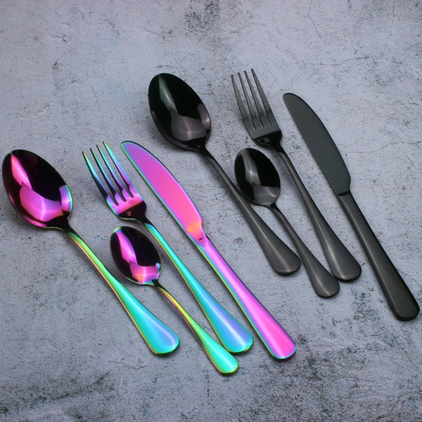 best selling Delicate Stainless Steel Flatware Set Titanium Colorful Plated Spoon Fork Knife Set Dinnerware Tableware Set Coffee Spoons Stir Teaspoon