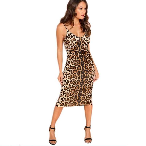 Multicolor Sexy Partido Backless Leopard Print Cami mangas Lápis Skinny Clube Vestido noite de outono os vestidos das mulheres