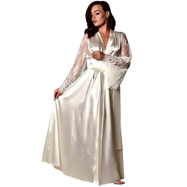 Pijamas de las mujeres Satén largo camisón de encaje de seda ropa interior camisón ropa de dormir sexy túnica camisón lencería sexy caliente @ 8