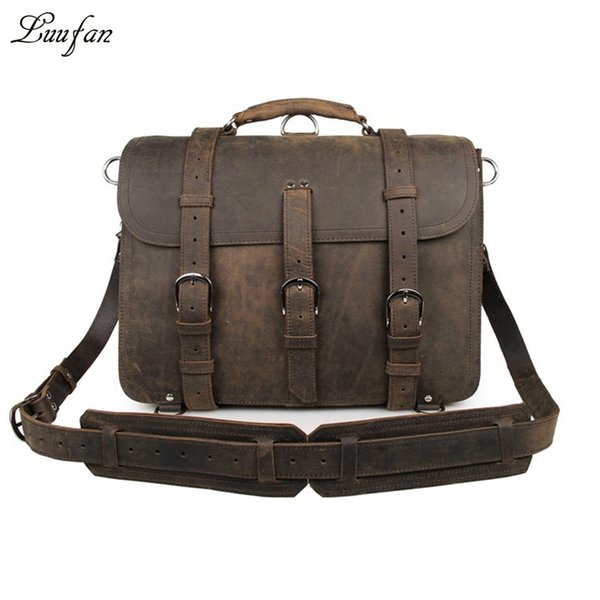 "Men's genuine leather briefcase fit 16"" Laptop messenger bag 2 Use travel bag real leather Large capacity rucksack shoulder #159613"