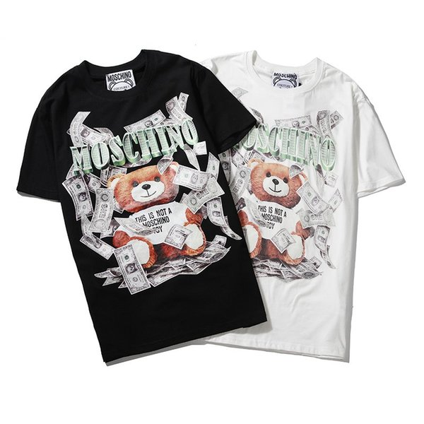 19ss Couture Milano Moschin O Letter Print Men Tee Teddy Bear Cotton T SHIRT Men Women Moschinos Tops Streetwear T-shirts BDQ53