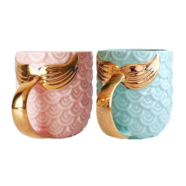 Balık Kuyruğu Süt Çay Bardak Denizkızı Seramik Süt Kupa Elektrolizle Kamp Bardak Benzersiz Altın Renk Kolu Ölçekli Dekoratif Desen