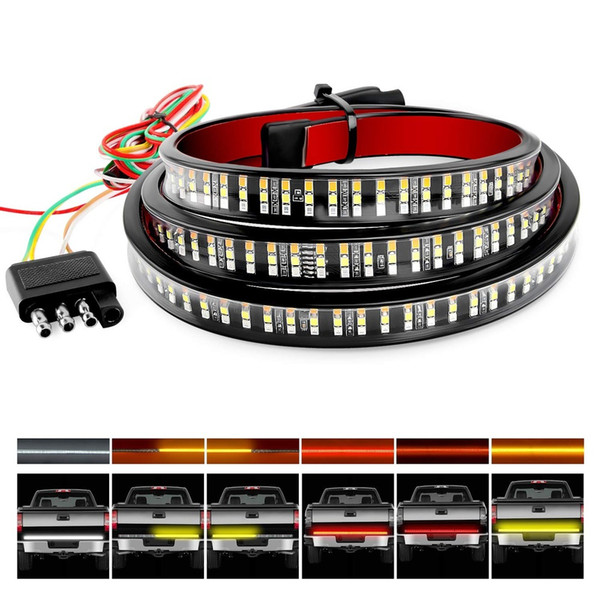 """top popular Truck Tailgate Bar 60"""" Triple Row 504 LED Strip with Red Brake White Reverse Sequential Amber Turning Signals Strobe Lights 2021"""