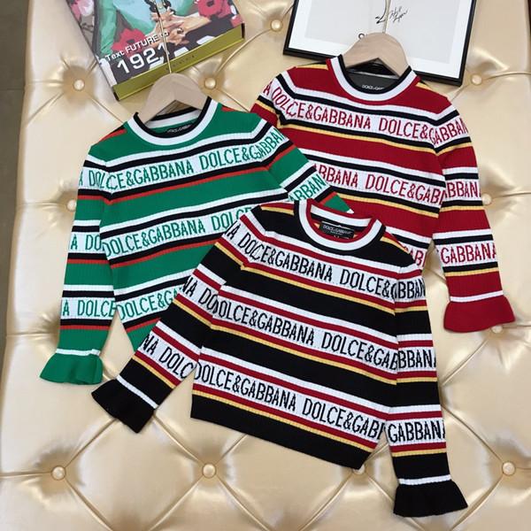 Enfants chandails enfants garçons d'automne de vêtements griffés et filles lettres Pull en maille de coton pull-over design élément de correspondance des couleurs