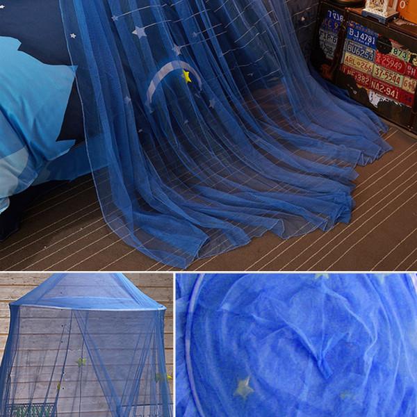 Beşik Netleştirme Sivrisinek Geçirmez Oynamak Yatak Gölgelik Çadır Perdeleri Erkek Kız Prenses Mavi Yıldız Okuma Bebek Yuvarlak Dome Oyun Evi