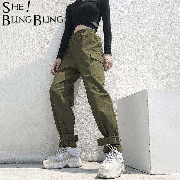 Sheblingbling Fashion Cotton Cargo Pants Army Green Women Casual Trousers Pockets Pin Buckle Foot Mouth High Waist Harem Pants