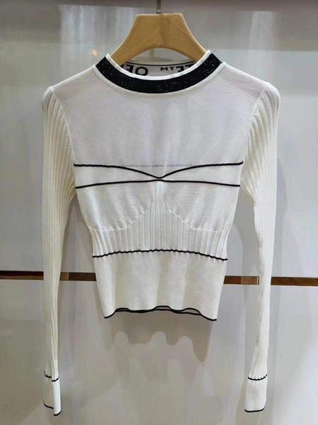 осень с круглым вырезом Марка Same Style с длинным рукавом в полоску Пром Мода Роскошная вязаная футболка для стройной леди