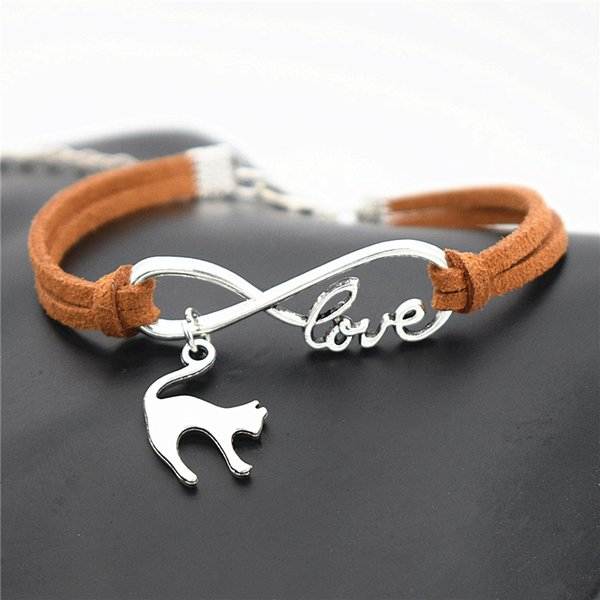 New Fashion Brown Leather Suede Bracelets Bangles For Men Braided Infinity love Elegant Animal Cat Wrist Band Women Jewelry Bridesmaids Gift