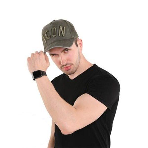 Erkekler Kadınlar Nakış ICON Siyah Baba Şapka Hip Hop Trucker Cap Hombre Gorras Casquette Yeni Pamuk Yaz Beyzbol Şapkası