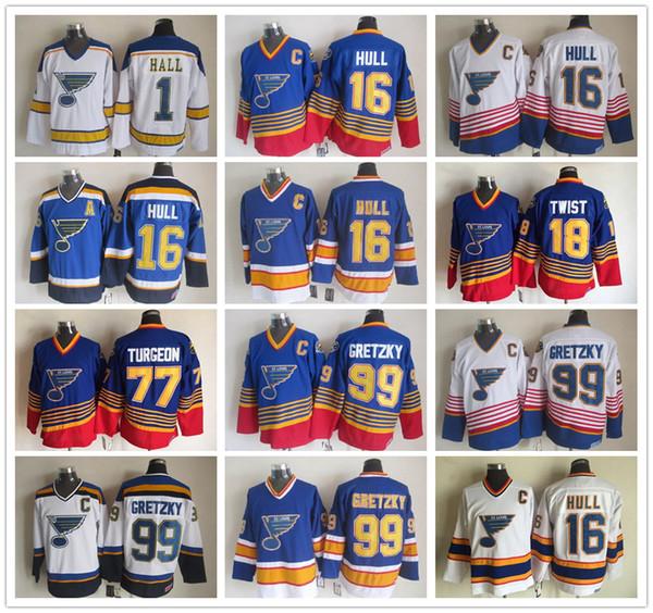 St. Louis Blues Jersey CCM Old Time 16 Brett Hull 18 Tony Twist 44 Chris Pronger 77 Pierre Turgeon 99 Wayne Gretzky