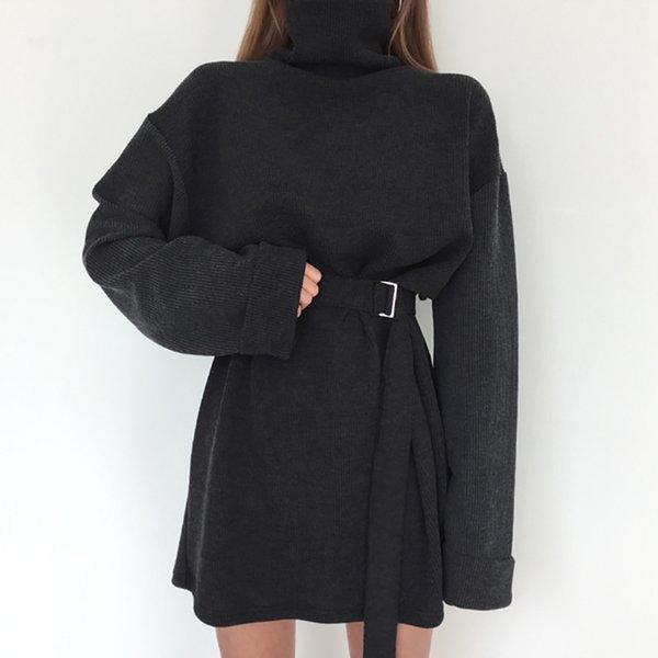 echte Schuss 2018 Frühlingsfrauen feste Rollkragen Langarm Kleid weibliche Bandage plus Größe gerade Baumwolle Kleider Y19012102