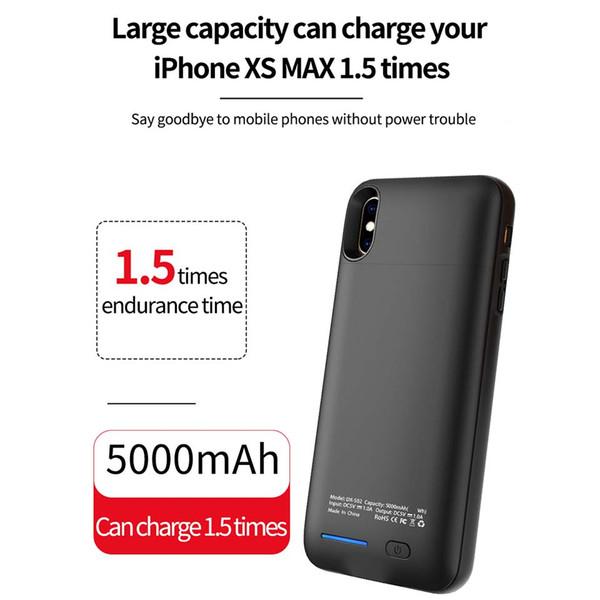 Per iPhone XS MAX Batteria esterna Backup Power Bank Caricabatteria Custodia Powerbank Custodia per la vendita al dettaglio