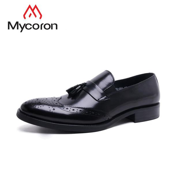 MYCORON Nouvelles Chaussures De Mode 2019 Style Italien Bout Pointu En Cuir Bottes Chaussures Hommes Casual Chaussures À Lacets Mannen Schoenen