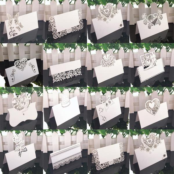 White Lace 50pcs Nome Luogo Nozze Decorazione della tavola Decor Tavola Nome messaggio di saluto accessori per la carta di Baby Shower partito