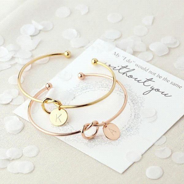 MESTILO Trendy annodato a nodo aperto bracciale bangle in oro rosa moneta nastro 26 lettere iniziali fascino braccialetti filo amore braccialetti per le donne