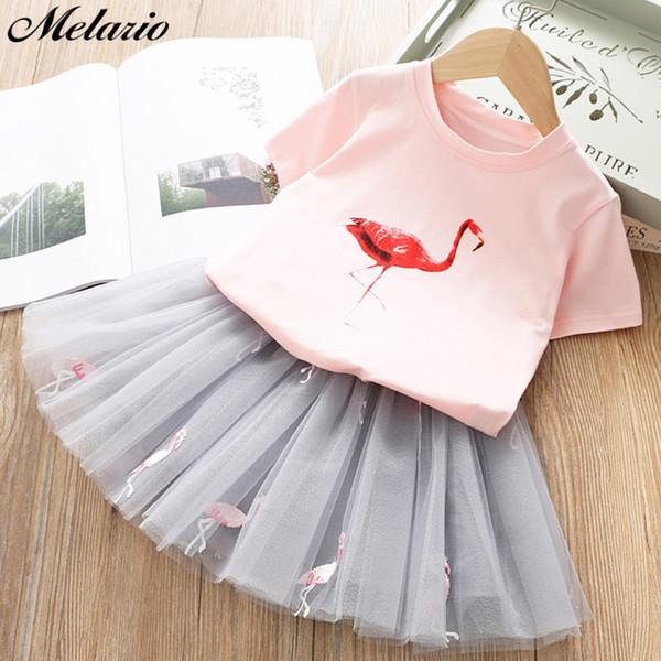 Filles Robes T-shirt blanc et jolies filles 2019 robe rose avec des vêtements en strass robe automne vêtements pour enfants enfants