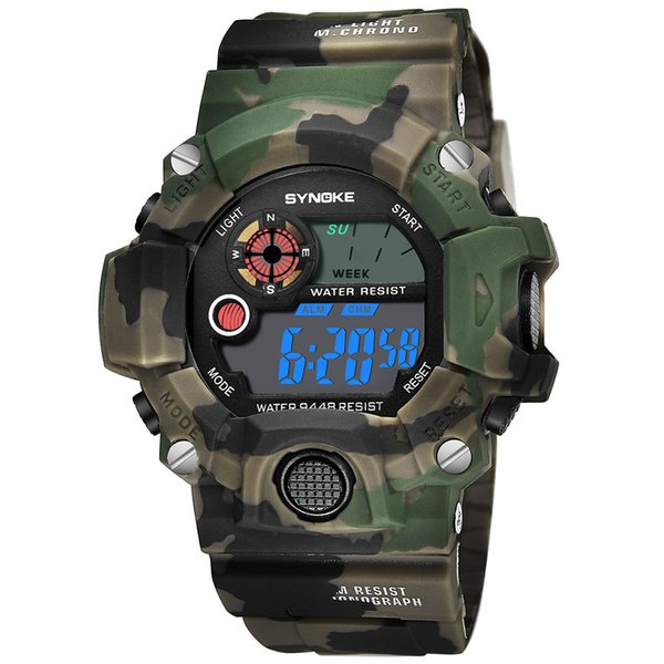 Men Women Multifunctional Wrist Watch Camouflage Casual ABS UV Digital Sport Electronic Watch Watches Fabala Waterproof