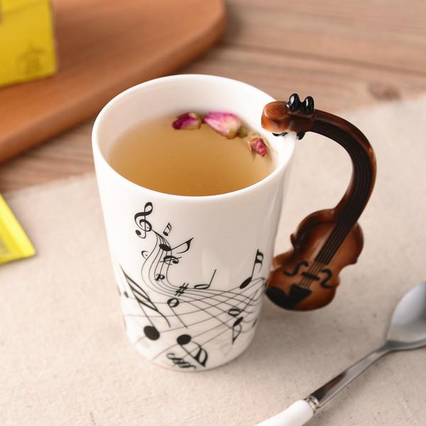 Creative Music Violon Style Guitare Tasse En Céramique Café Thé Lait Stave Tasses Avec Poignée Tasse À Café Nouveauté Cadeaux T8190627