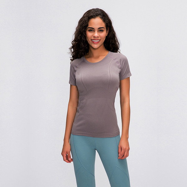 best selling AFK-LU35 women yoga shirts short sleeve breathable solid color gym sports outwork wear with logo high quality