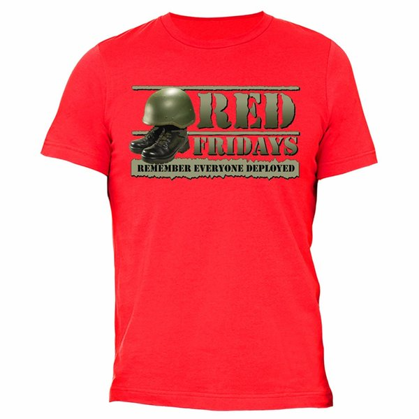 Red Fridays T-shirt Helmet Combat boot Memorial Military Army USA Tshirt Red
