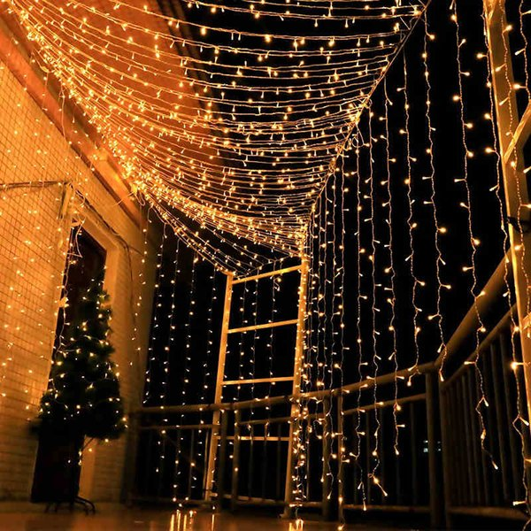 Large Size 10MX5M 1600 Bulbs Garland LED Curtain String lights Outdoor Weeding Decorative LED Lights For Holiday Party Christmas Decorations