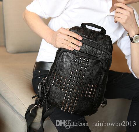 Factory wholesale brand mens bag style rivet punk backpack style fashion leather rivet shoulder bag multifunctional leisure men chest bag