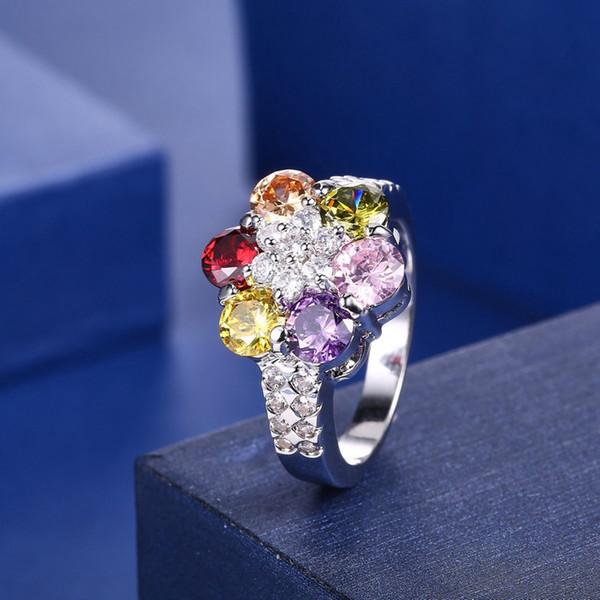 Versión coreana de la tendencia de la moda europea y americana simple Girasol 3A circón color mosaico circón anillo al por mayor Z0320
