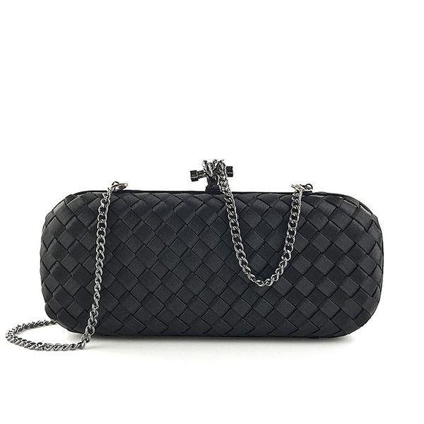 Stylish Luxury Women Clutch Bag Knitting Handbag Clutch Hard Party Purse Solid Female Weave Evening Bag 2019