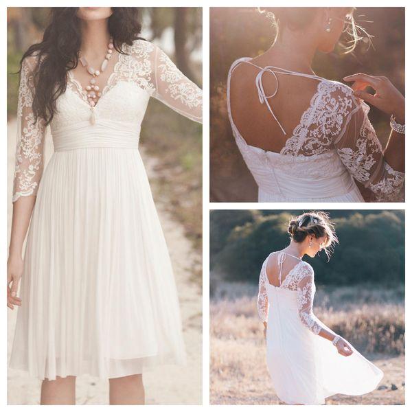 2019 Short Beach Boho Wedding Dresses V Neck Illusion 3/4 Long Sleeve Pleats Knee Length Chiffon Zipper Country Bridal Gowns robe de soiree