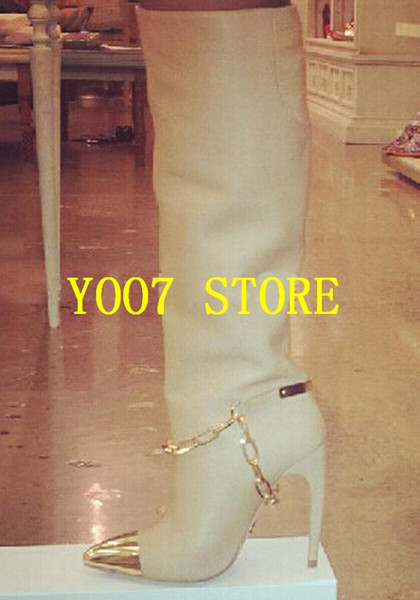 Venta caliente 2019 moda mujer punta del dedo del pie de oro rodilla alto gladiador botas negro de cuero blanco botas de tacón alto largo diseño de la cadena
