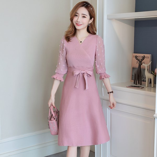 Pengpious 2019 Fashion Postpartum Women Chiffon Patchwork Knitted Nursing Dress Three Quarter Lantern Sleeve Breastfeeding Dress