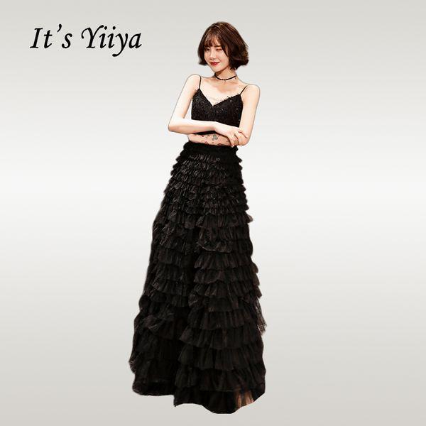 It's YiiYa Evening Dress 2019 Elegant Black Tassel V-neck Women Party Night Dresses Tiered Zipper Formal Robe de Soiree E500