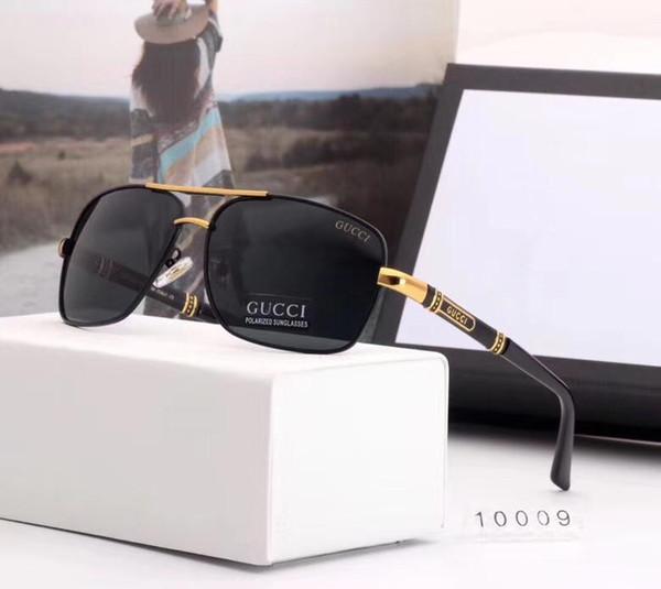 Tasarımcı Güneş Gözlüğü Lüks Güneş Gözlüğü Moda Marka Gözlük Erkek Metal Gözlük UV400 için 5 Renk Seçeneği Tarzı ile 10009 Yüksek Kalite kutu