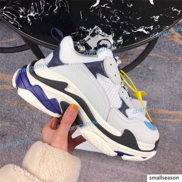 top popular 2019 Multi Luxury Triple S Designer Low Old Dad Sneaker Combination Soles Boots Mens Womens Fashion Casual Shoes High Top Quality Size 36-45 2021