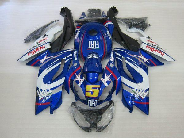 Kit de carenado del molde de inyección para Aprilia RS125 06 07 08 09 10 11 RS 125 2006 2011 ABS Azul Blanco Carenados conjunto AA08
