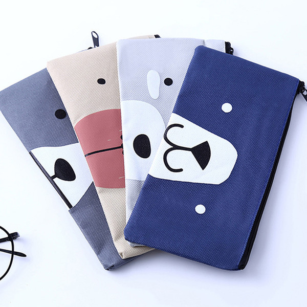 New Creative Cute Cat Cartoon Canvas Pencil Case Simple Large Capacity Pencil Bag Box Students School Stationery Gift