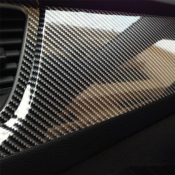 10x152 cm 5D Haute Fibre De Carbone Vinyle Film De Vinyle De Voiture Style Wrap Moto Voiture Style Accessoires Intérieur Film De Fibre De Carbone