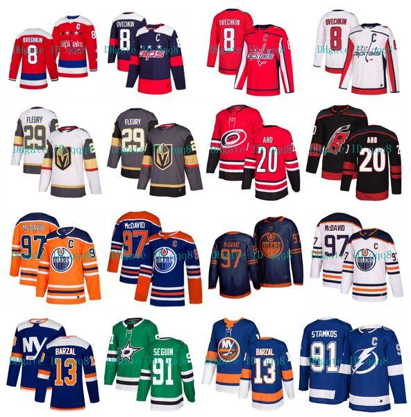 best selling Connor McDavid Edmonton Oilers Jersey Alex Ovechkin Washington Capitals Marc-Andre Fleury Stamkos Mathew Barzal Hurricanes Aho NHL Hockey