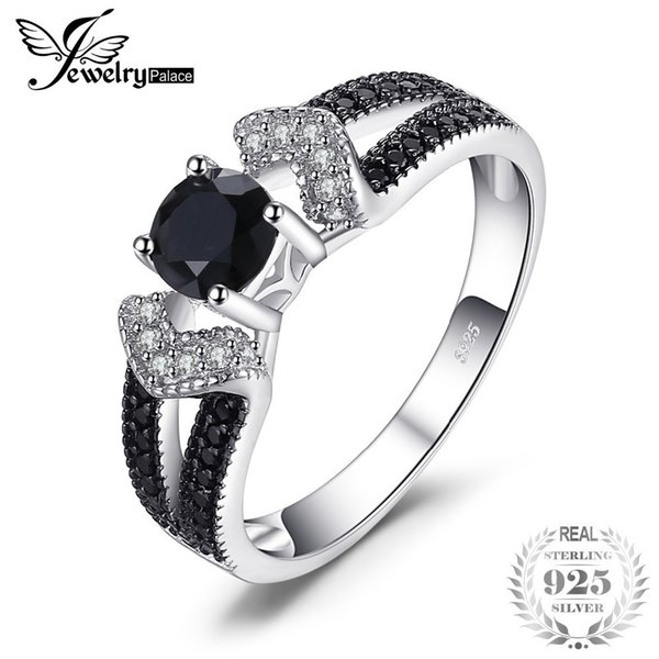 Jewelrypalace Elegante 0.8ct Natural Black Spinel Eheringe Ringe Für Frauen Echte 925 Sterling Silber Erklärung Schmuck J190611