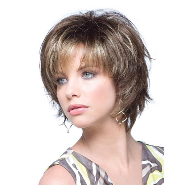 Perruques de cheveux synthétiques bruns mélangés avec frange pour les femmes blanches perruque naturelle à la mode