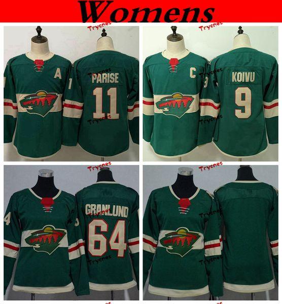 Womens Minnesota Wild 2019 11 Zach Parise 9 Mikko Koivu 64 Mikael Granlund Hockey Jerseys Home Team Green Ladie Girls Stitched Shirts