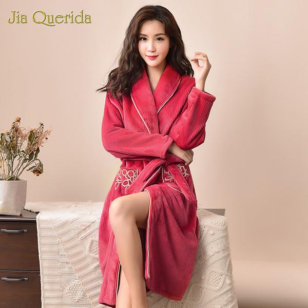 Abiti di moda per donna Calda morbida flanella Anguria di lusso Fiore rosso Tasca al ginocchio Homewear Taglie forti Accappatoio