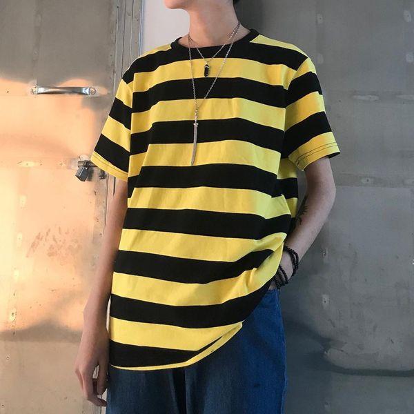 Lychee Girls Streetwear Hit Color Striped Women T-shirt Causal Loose Camisetas de manga corta Verano Primavera Oversize Tee Top
