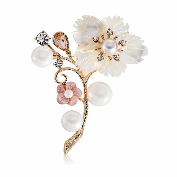 wholesale Natural Shell Pearls Pins and Brooches CZ Crystal Flower Brooch for Women Suit Scarf Clip fashion jewelry broche