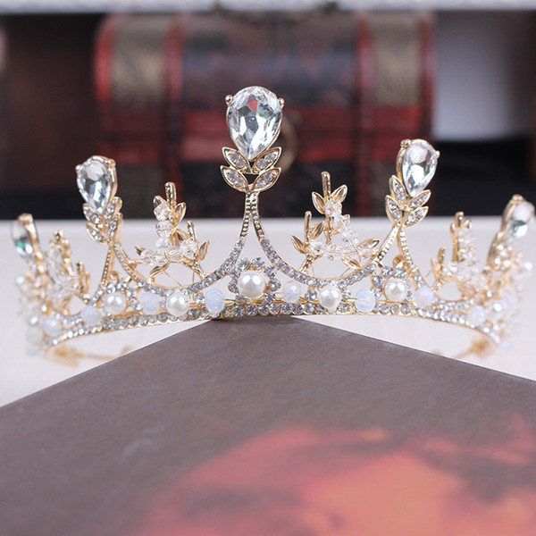 A piece women fashion silver queen princess hair jewelry bride wedding hairpin pearl crown flower festival gift