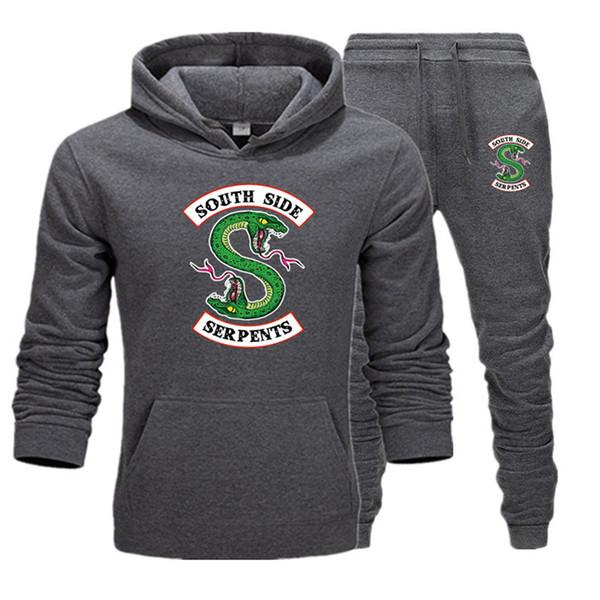 2019 nouveaux survêtements hommes deux pièces Hoodies + Pantalons Automne / Hiver Riverdale Hoodies Pulls Molletonnés Costume Jogging Survêtements T12