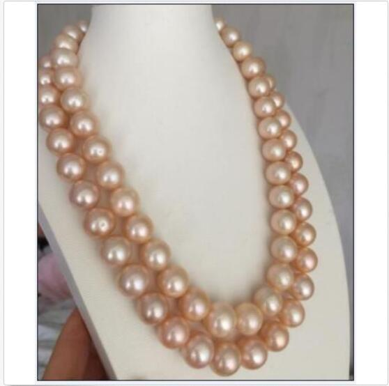 """huge double strands 10-11mm south sea round gold pink pearl necklace17""""18"""" 14k"""
