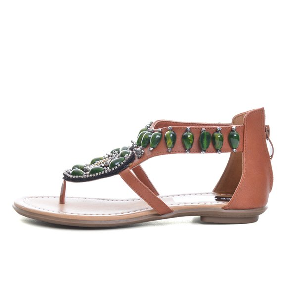 Vintage Flip Flops 2019 Summer Bling Gladiator Sandals Green Rhinestone Slip On Casual Shoes Flats Woman XWZ3459